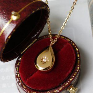 NEW 18K Gold Plated Teardrop Diamond Star Necklace